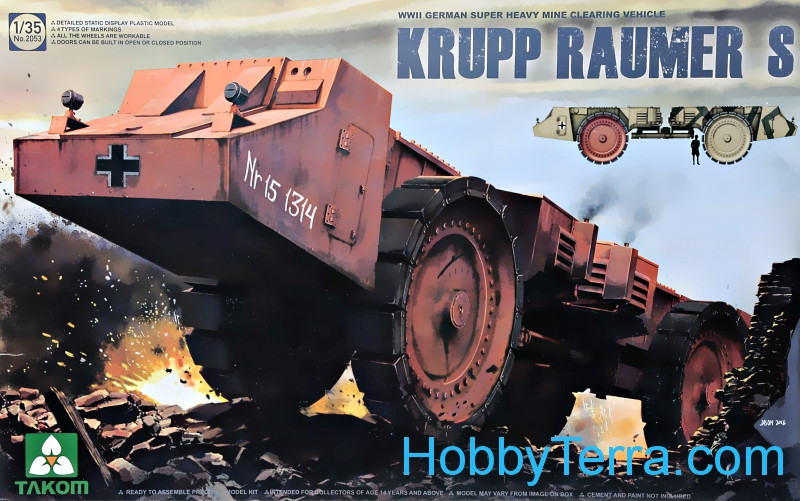 "Takom  2053 WWII German Super Heavy Mine Clearing Vehicle ""Krupp Raumer S"""