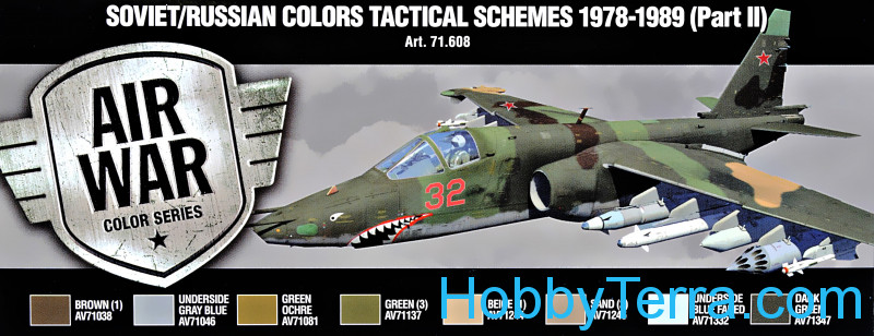 Vallejo  71608 Paint Set. Air Soviet/Russian colors Tactical Schemes 1978-1989 (Part II), 8pcs