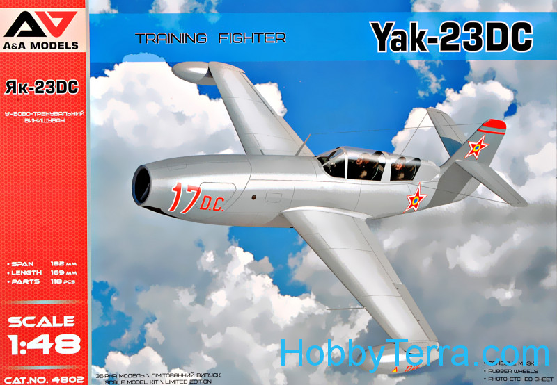 "A & A Models  4802 Yak-23 DC ""Dubla Comanda"" training fighter"