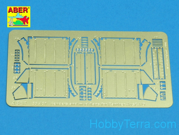 Front fenders for Panther Ausf.A/D, for Tamiya, Italeri kit