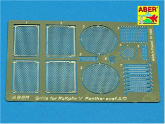 Photo-etched set 1/35 grilles for Panther Ausf.A/D