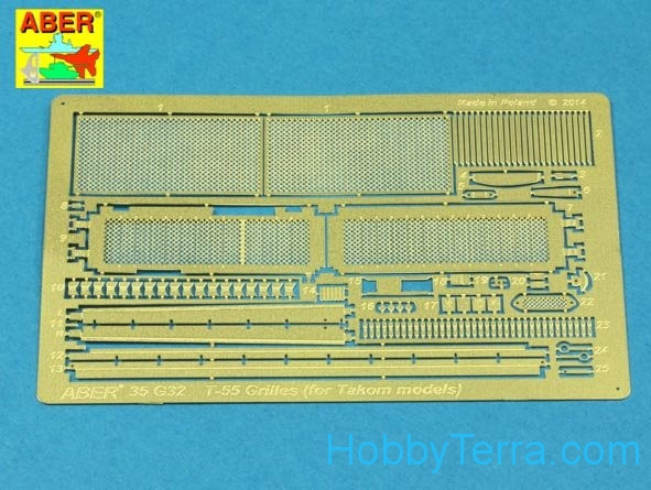 Grilles for Russian tank T-55AM also for T-55AMV, for Takom kit