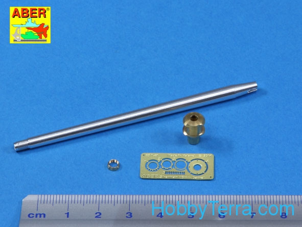 U.S. 76mm M1A2 barrel with muzzle brake for Sherman M4A3E8 tank, for Tamiya