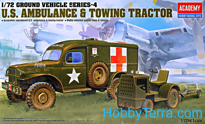 Academy  13403 WWII Ground vehicle series. US ambulance and towing tractor