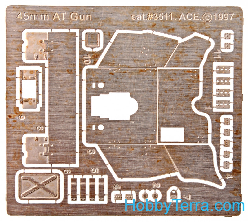 Photo-etched set 45mm Soviet WWII AT gun, for ICM kit