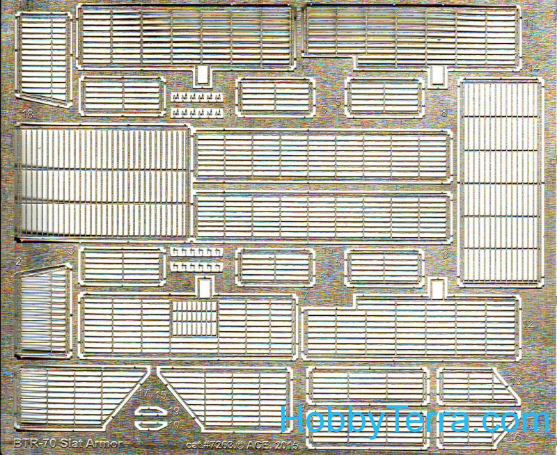 Photo-etched set 1/72 slat armor for BTR-70, for ACE kits