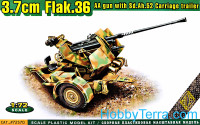 Flak 36 3.7cm AA gun with Sd.Ah.52 carriage trailer
