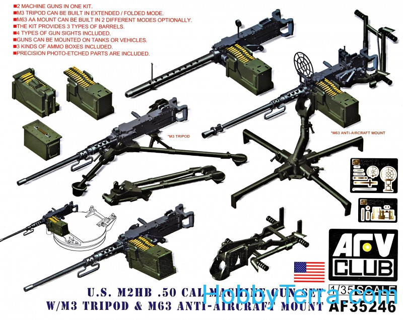U.S. M2HB .50cal machine gun set W/M3 Tripod and M63 anti-aircraft mount