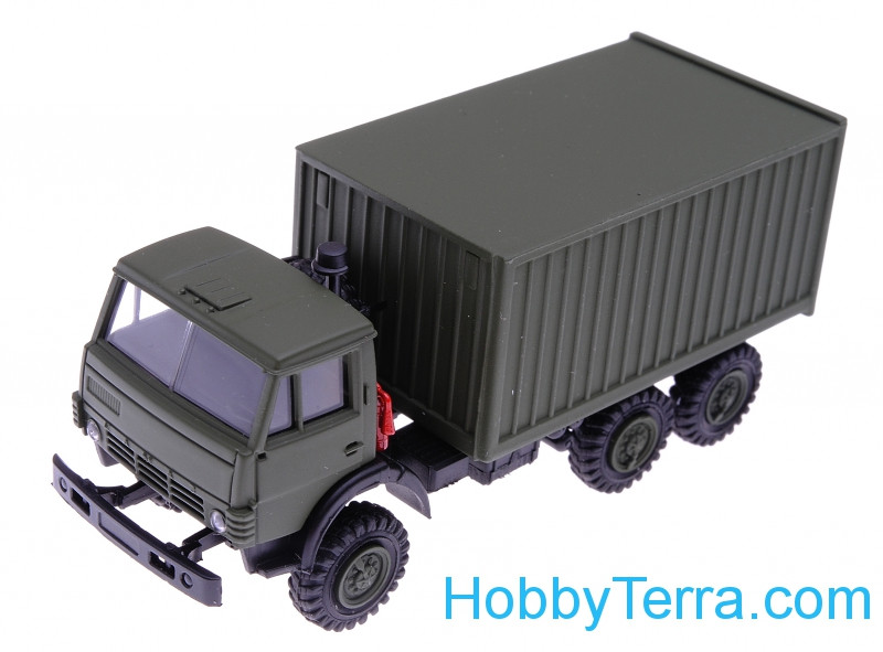 1:87 Kamaz container truck, dark green color