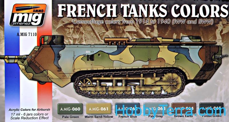 MIG (AMMO) 7110 Acrylic Set  WWI & WWII French Camouflage colors