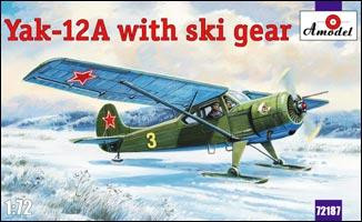 Yakovlev Yak-12A aircraft with ski gear
