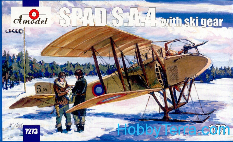 SPAD S.A.4 biplane with ski gear