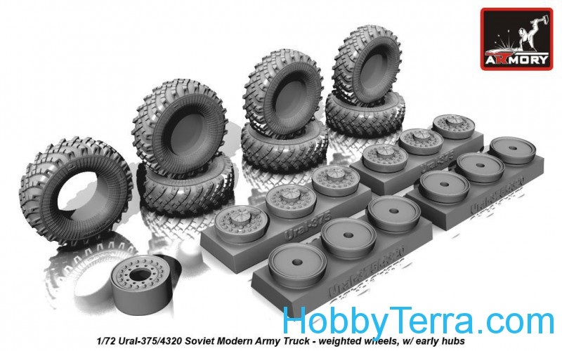 Wheels set 1/72 weighted w/ early hubs for Ural-375/4320