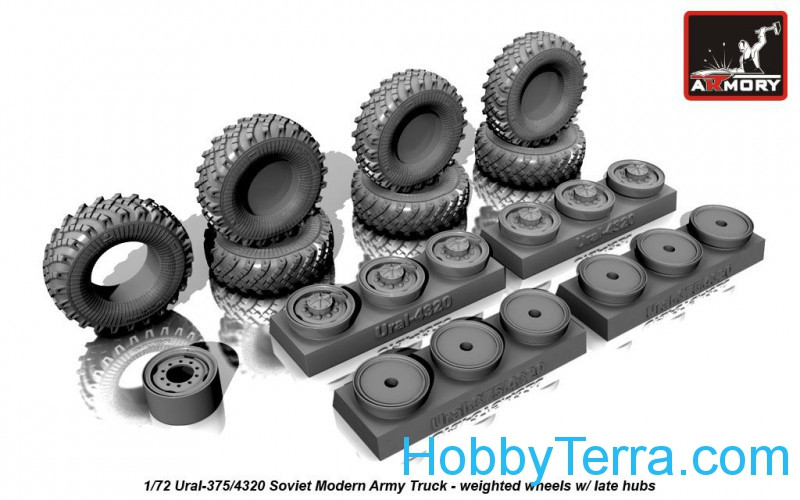 Wheels set 1/72  weighted w/ late hubs for Ural-375/4320