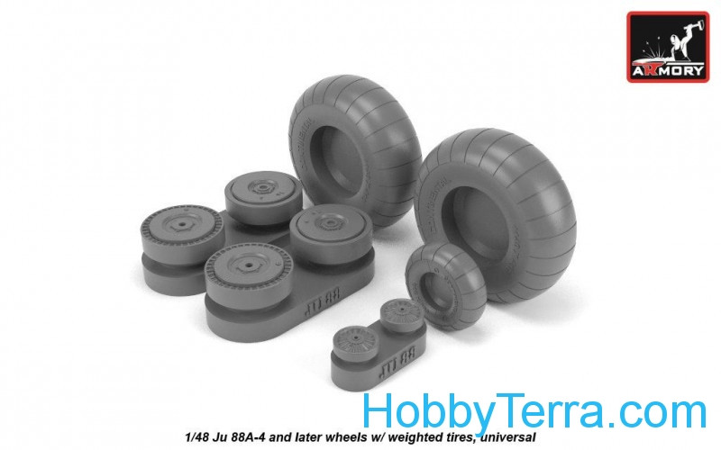 Wheels set 1/48 Junkers Ju 88A-4 late w/weighted tires