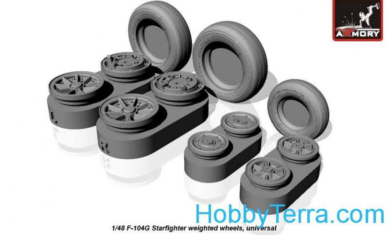 Wheels set 1/48 for F-104G Starfighter (w/ optional nose wheels)