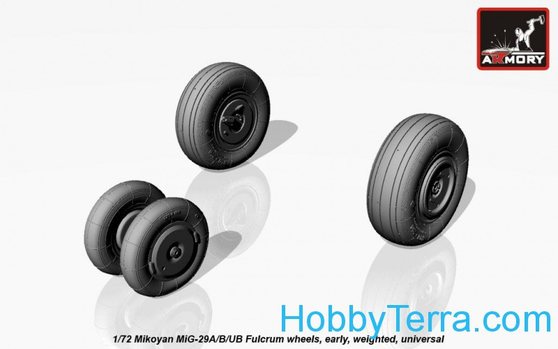 Weighted wheels set 1/72 early for MiG-29A/B/UB Fulcrum