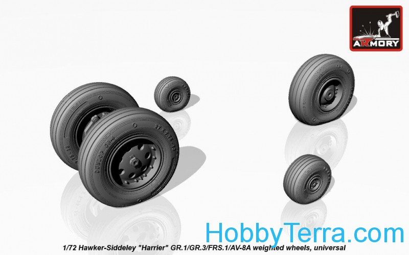 "Wheels set 1/72 weighted for Hawker-Siddeley ""Harrier"" GR.1/GR.3/FRS.1/AV-8A"