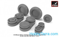 Wheels set 1/32 Mikoyan MiG-21 Fishbed w/weighted tires, late