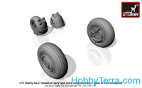 Wheels set 1/72 Sukhoj Su-27 wheels w/early type hubs, weighted tires