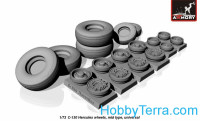 Lockheed C-130 Hercules wheels, mid type 1/72 scale