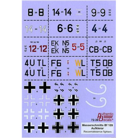 Decal 1/72 for Luftwaffe Bf-109 Aufklerar (Reconnaissance fighters)
