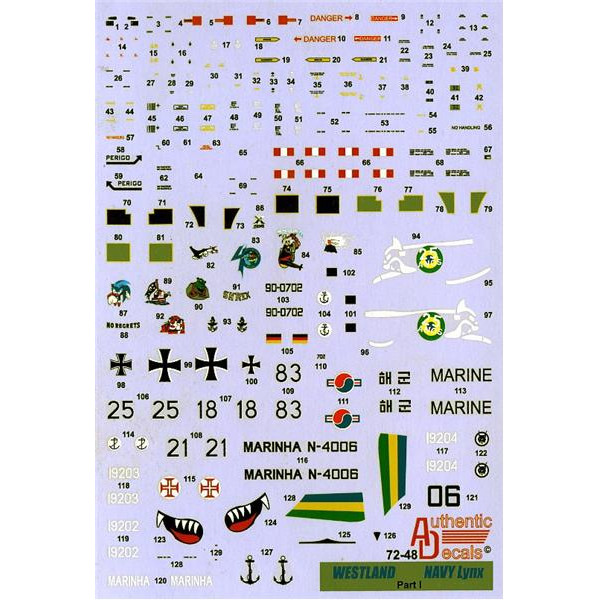 Decal 1/72 for Westland Lynx NAVY, pt. I: Brasil, Portugal, Germany S. Korea