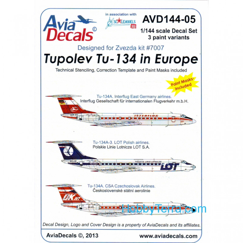 Decal 1/144 for Tupolev Tu-134A/A-3 in Europe, Part 5