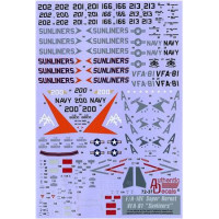 "Decal 1/72 for Modern US NAVY F/A-18E Super Hornet VFA-81 ""Sunliners"""