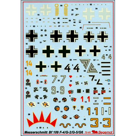 Begemot  72001 Decal 1/72 for Messerschmitt Bf-109G/F