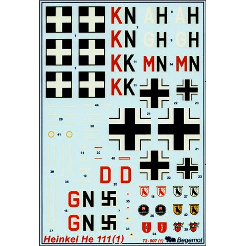 Decal 1/72 for Heinkel He-111, Part 1