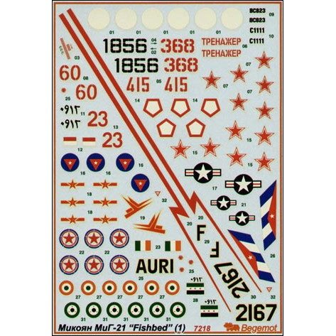 Decal 1/72 for Mikoyan MiG-21, part 1