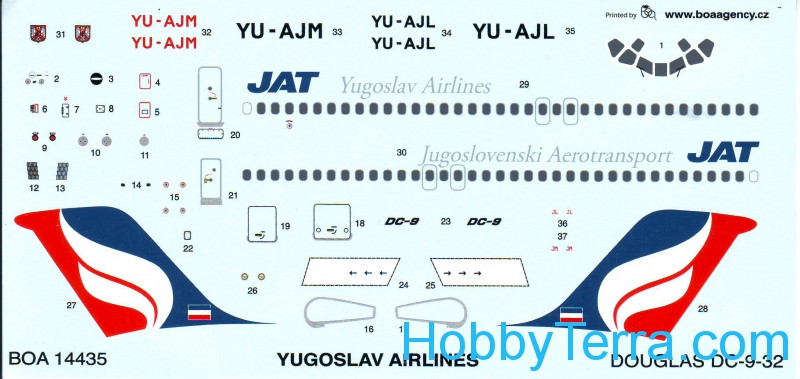 Boa Decals  14435 Decal 1/144 for Douglas DC-9 Yugoslav Airlines