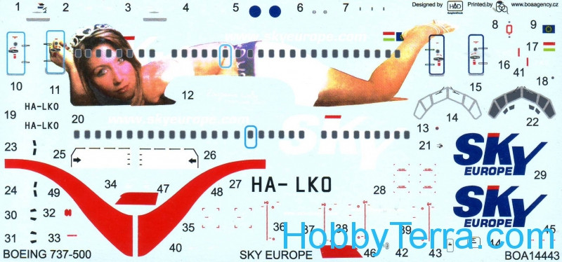 "Decal 1/144 for Boeing 737-500 ""Sky Europe"""