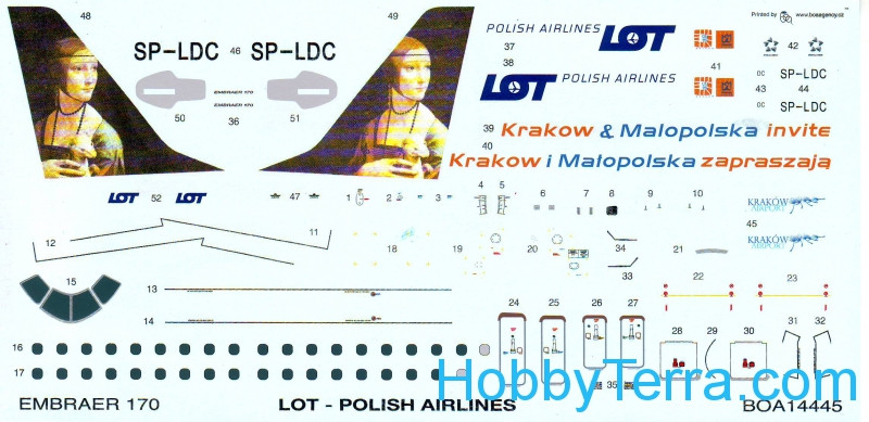 Decal 1/144 for Embraer 170 LOT Malopolska
