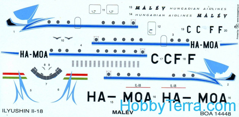 "Decals 1/144 for IL-18 ""Malev"""
