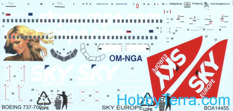 "Decals 1/144 for Boeing 737-700 ""Sky Europe"""