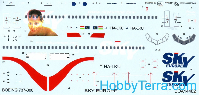 Decals 1/144 for Boeing 737-300 Sky Europe (Muriel)