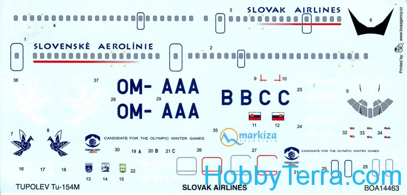 Decal 1/144 for Tupolev Tu-154M Slovak Airlines