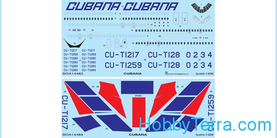 Decal 1/144 for Ilyushin IL-62M Cubana