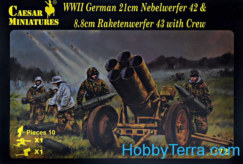 WWII German 21cm Nebelwerfer 42 and 8,8 cm Raketenwerfer 43 with crew