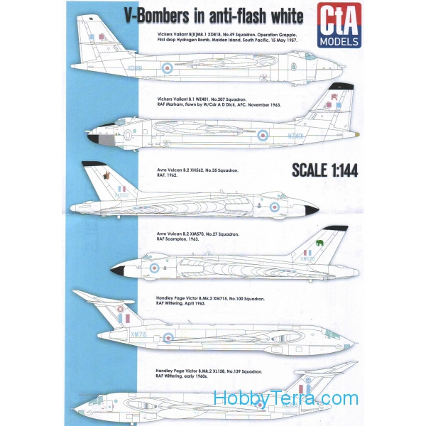 CTA  14401 Decal 1/144 for V-Bombers in anti-flash white