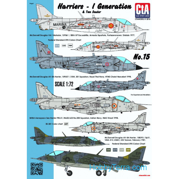 CTA  7208 Decal 1/72 Harriers - 1st Generations & Two Seater (Spain, Thailand, India, USA - 6 Markings)
