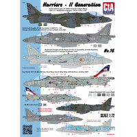Decal 1/72 Harriers - 2st Generations (USA, Spain, Italy, UK - 4 Markings)