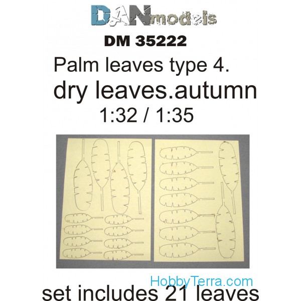 Palm leaves, yellow (dry leaves. autumn) in 1:32-1:35 scales: type #4