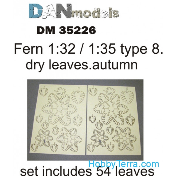 Fern leaves, yellow (dry leaves. autumn) in 1:32-1:35 scales: type #8