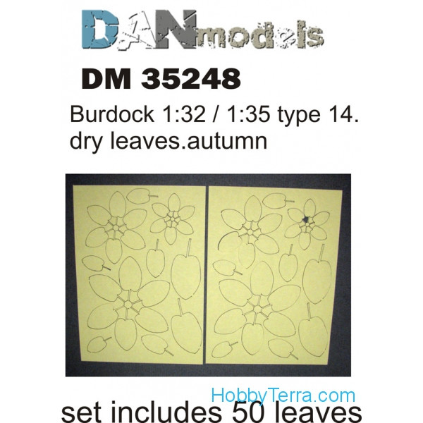 Burdock leaves, yellow (dry leaves. autumn) in 1:32-1:35 scales: type #14