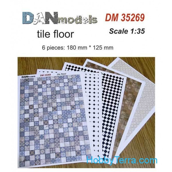 Paper material for dioramas. Tile floor, 6 pieces: 180x125 mm