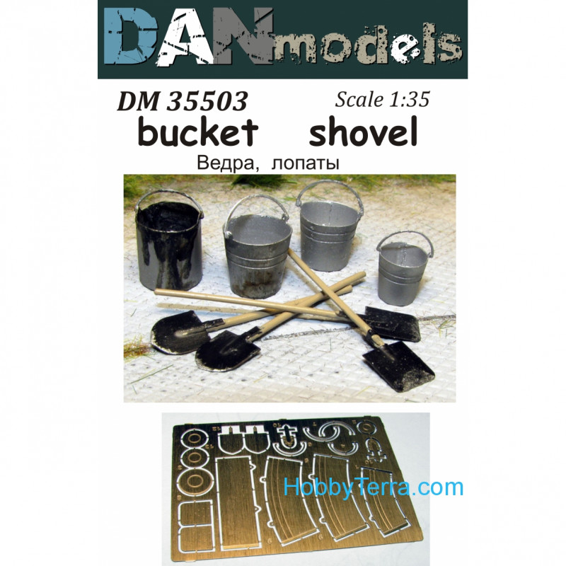 Buckets, shovels (without wooden handles)