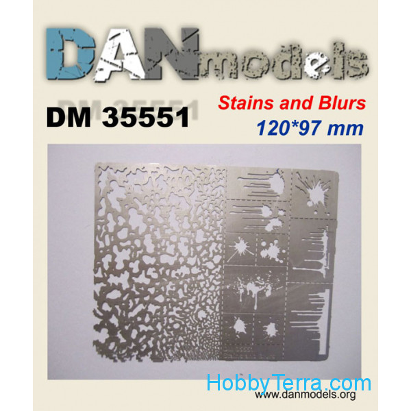 DAN models  35551 Photo-etched Stencil for applying traces spatters and stains #2